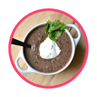 Black Bean Dip Soup with<br>Cilantro & lowfat sour cream