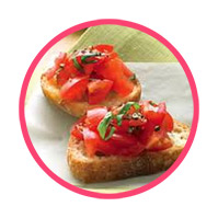 Tomato and Basil<br>Dip Crostini