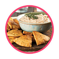 Warm baked pita chips<br>with Rosemary Dip