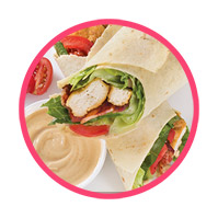 Grilled chicken wrap<br>with Rosemary basil Dip